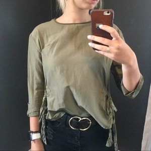 Zara cropped bow top size M